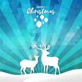 Blue Merry Christmas Snow Winter landscape with deer couple Stock Image