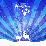 Blue Merry Christmas Snow Winter landscape with deer couple Stock Photography