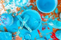 Blue mess paint Stock Photos
