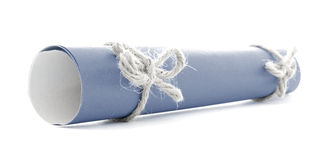 Blue message scroll tied with rope, two natural knots isolated. Blue message scroll tied with rope, two natural knots, isolated royalty free stock photos
