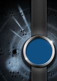 Blue and Metal Abstract Background. Blue and metal grunge background with rivets and holes, blue and metal circle and vertical band Royalty Free Stock Photography