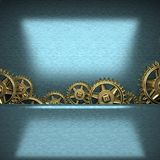 Blue metal background with cogwheel gears Royalty Free Stock Photos