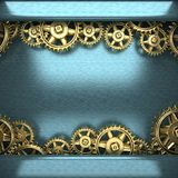 Blue metal background with cogwheel gears Stock Photo