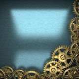 Blue metal background with cogwheel gears Royalty Free Stock Images