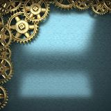 Blue metal background with cogwheel gears Royalty Free Stock Photo