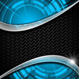 Blue and Metal Background with Grid Stock Images