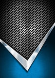 Blue and Metal Background with Grid Royalty Free Stock Photos