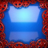 Blue metal background with red cogwheel gears Stock Photo
