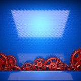 Blue metal background with red cogwheel gears Royalty Free Stock Photos