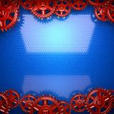 Blue metal background with red cogwheel gears Royalty Free Stock Image