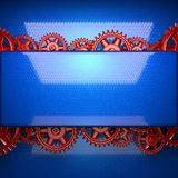 Blue metal background with red cogwheel gears Royalty Free Stock Images