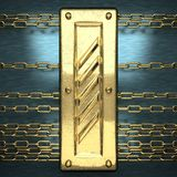 Blue metal background with yellow element royalty free stock image