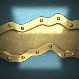 Blue metal background with yellow element royalty free stock photo