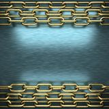 Blue metal background with yellow element Stock Photography
