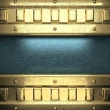 Blue metal background with yellow element Stock Photos
