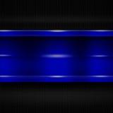 Blue metal banner on black carbon fiber. metal background. 3d illustration Stock Image