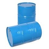 Blue metal barrel Stock Photos
