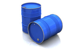 Blue metal barrels Royalty Free Stock Images