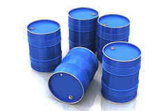 Blue metal barrels Stock Image