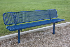 Blue metal bench Royalty Free Stock Image