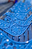 Blue, metal benches with beautiful flowers ornamental  Royalty Free Stock Photography