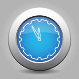 Blue metal button with last minute clock. Blue metal button - with white last minute clock stock illustration