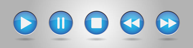 Blue metal button with music control buttons Stock Images