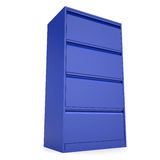 Blue metal cabinet. Isolated render on a white background Royalty Free Stock Photography