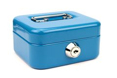 Blue metal cash box Royalty Free Stock Photography