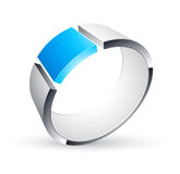 Blue metal circular icon Royalty Free Stock Photo