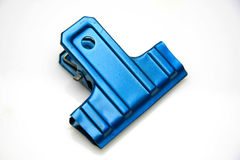 Blue metal clip Royalty Free Stock Images