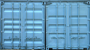 Blue metal containers. Doors texture Royalty Free Stock Photography