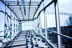 Blue metal corridor Stock Image