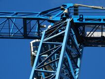 Blue Metal Crane Stock Photo