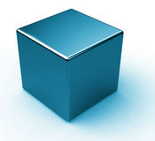 Blue metal cube Royalty Free Stock Photography
