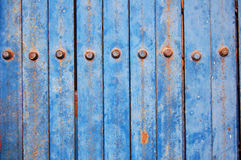 Blue metal fence stock image