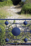 Blue metal fence Royalty Free Stock Photos