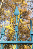 Blue metal fence with a single leaf Stock Photos