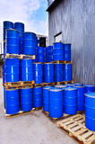 Blue metal fuel tanks of oil stored at the production site Royalty Free Stock Image