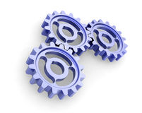 Blue metal gears. 3D blue metal gears, motion concept Royalty Free Stock Image