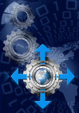 Blue and Metal Industrial Gears Background Stock Photos