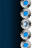 Blue and Metal Industrial Gears Background. Industrial metal background with five gears and blue globe Royalty Free Stock Photo