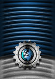Blue and Metal Industrial Gears Background Stock Images