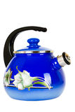 Blue, metal kettle on a white background. Teapot metallic, blue,  on white background Stock Images