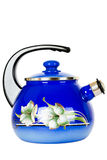 Blue, metal kettle on a white background. Teapot metallic, blue, isolated on white background Stock Photo