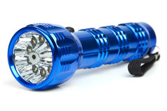 Blue metal LED flashlight Royalty Free Stock Photography