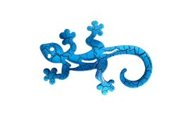 Blue metal lizard. On a white isolated background Stock Image