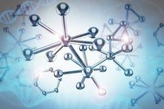 Blue metal molecule structure. 3d rendering blue metal molecule structure with dna helix Royalty Free Stock Images