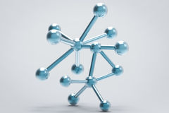 Blue metal molecule structure. 3d rendering blue molecule structure on grey background Stock Photography