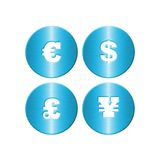 Blue Metal Money Symbols Royalty Free Stock Photos